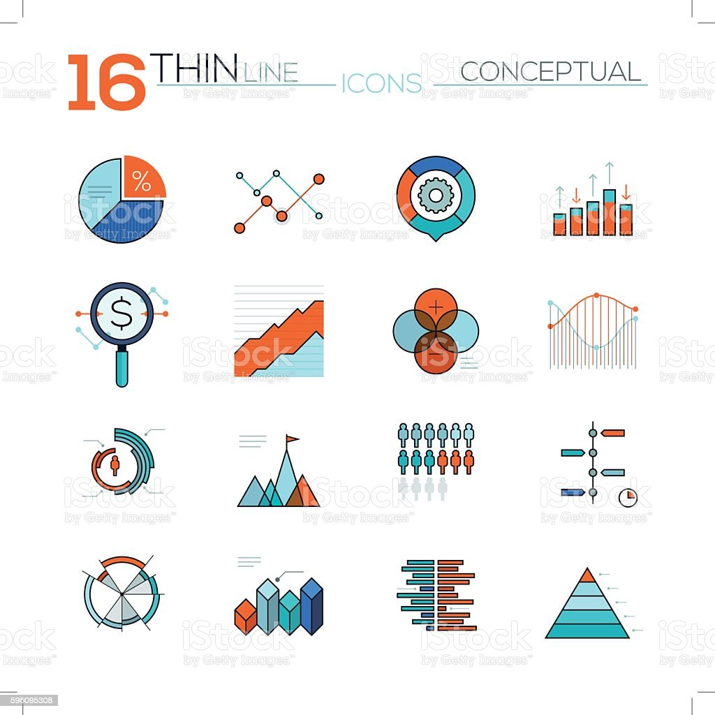 Modern thin line flat icons vector collection in stylish colors Lizenzfreies modern thin line flat icons vector collection in stylish colors stock vektor art und mehr bilder von computergrafiken