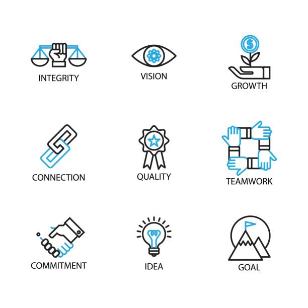 Modern Thin Line Icon and Pictogram, Business Core Value Concept, Flat thin line designed vector Illustrator Modern Thin Line Icon and Pictogram, Business Core Value Concept, Flat thin line designed vector Illustrator stability stock illustrations