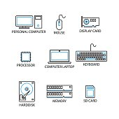 Modern Thin Line Icon and Pictogram, Computer Peripheral Concept, Flat thin line designed vector Illustrator