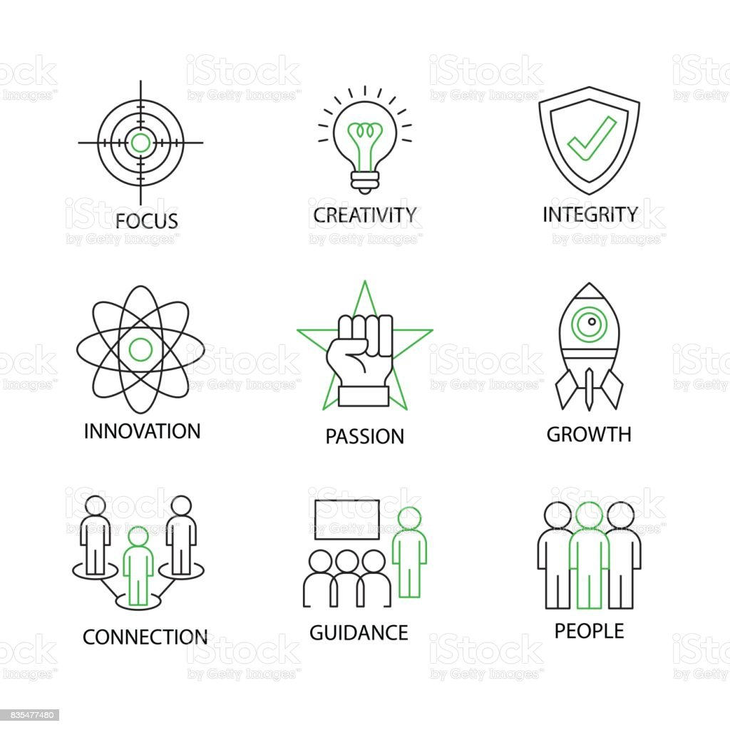 Modern Thin Line Icon or Pictogram with word Growth,Creativity,Innovation,Integrity,People,Focus,Guidance,Connection,Passion. Business Core Value Concept. Editable Line Stroke.