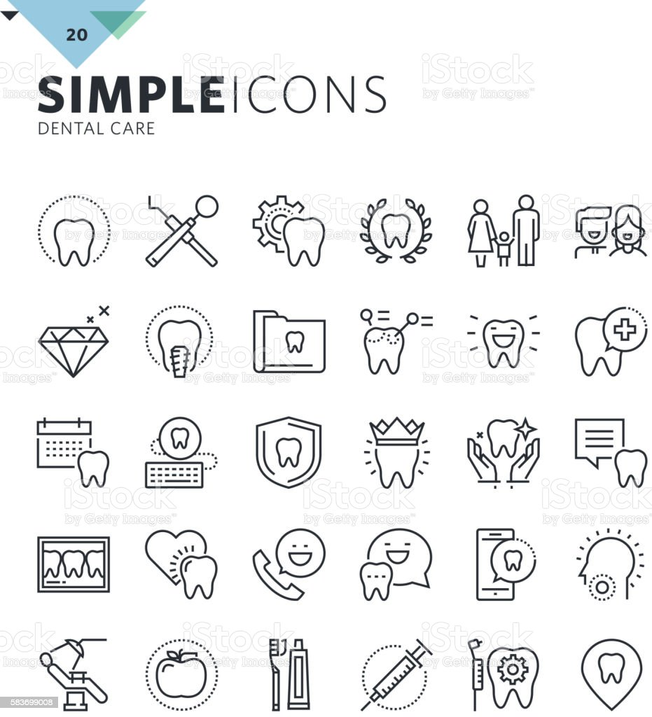 Modern thin line icons of dental care and dentist services vector art illustration