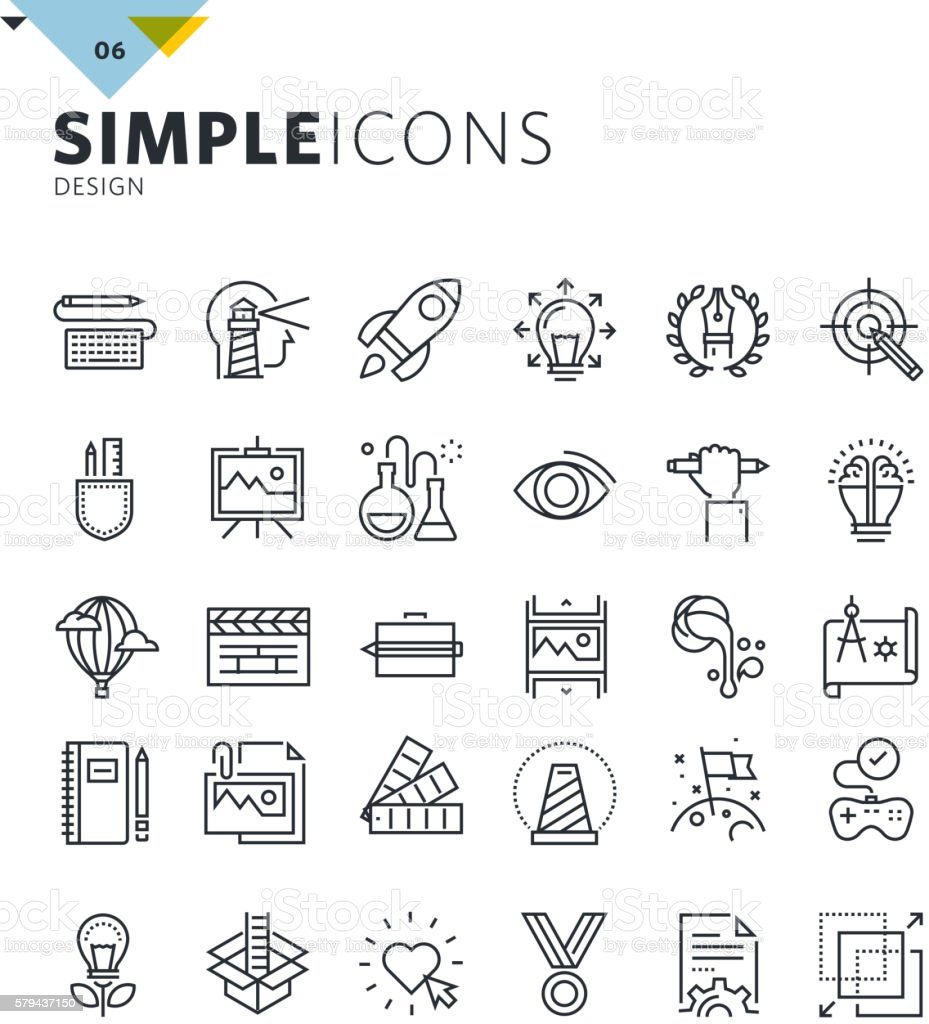 Modern thin line icons of design and art vector art illustration