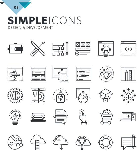 illustrations, cliparts, dessins animés et icônes de modern thin line icons of design and development - infographie de sites web