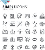 Modern thin line icons of graphic design and creative work. Premium quality outline symbol collection for web and graphic design, mobile app. Mono linear pictograms, infographics and web elements pack