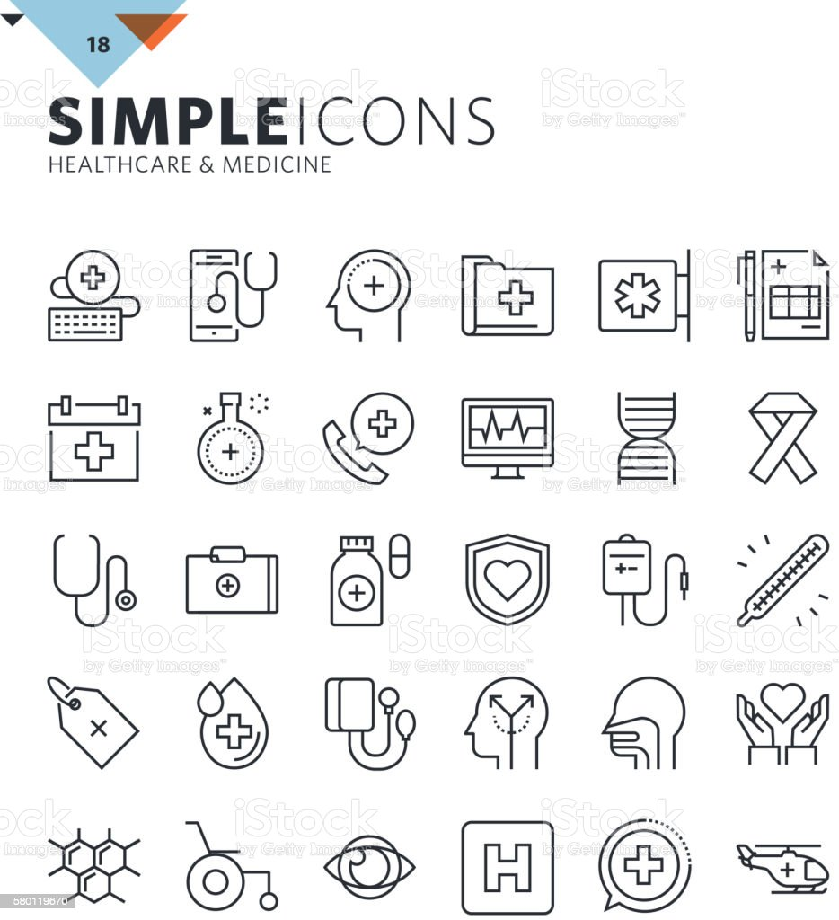 Modern thin line icons of healthcare and medicine vector art illustration