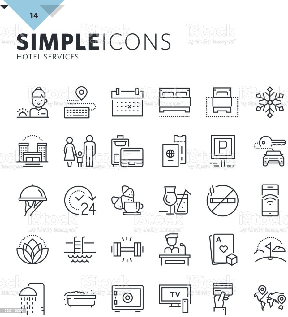 Modern thin line icons of hotel services and booking vector art illustration