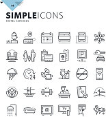 Modern thin line icons of hotel services and booking