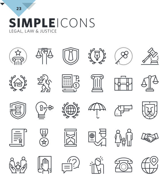 bildbanksillustrationer, clip art samt tecknat material och ikoner med modern thin line icons of law and lawyer services - law
