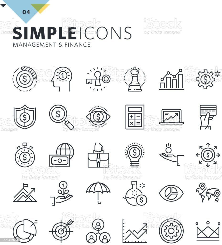 Modern thin line icons of management and finance vector art illustration