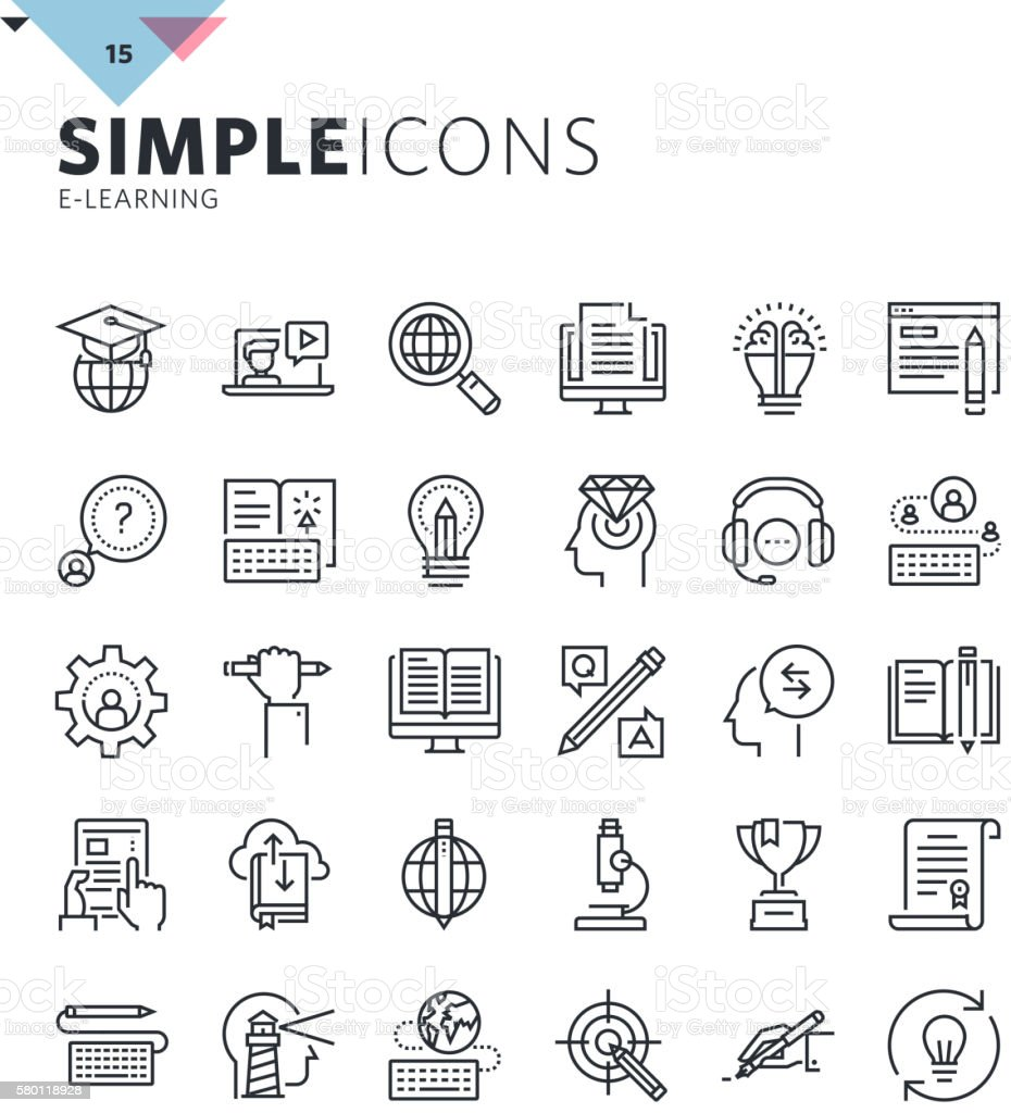 Modern thin line icons of online education and e-learning vector art illustration