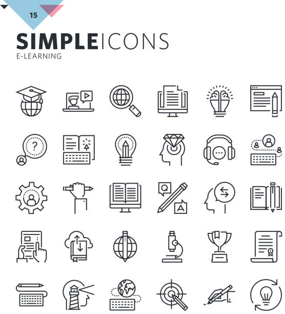 Modern thin line icons of online education and e-learning - Illustration vectorielle