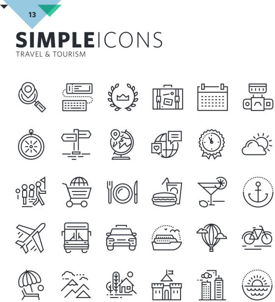 modern thin line icons of travel and tourism - retail worker stock illustrations, clip art, cartoons, & icons