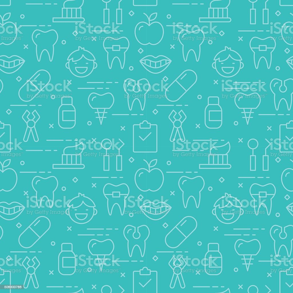 Modern thin line icons seamless pattern for dental care vector art illustration