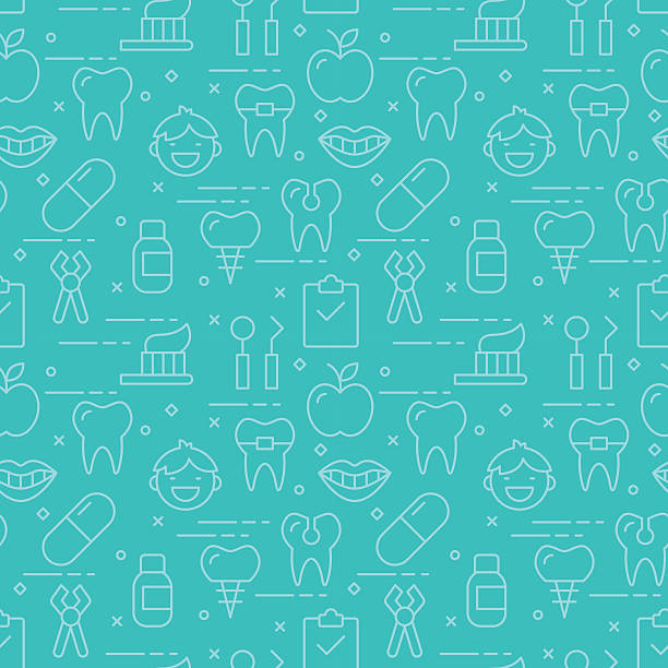 modern thin line icons seamless pattern for dental care - dentist stock illustrations, clip art, cartoons, & icons
