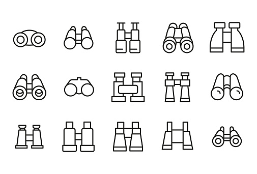 Modern thin line icons set of binoculars. Premium quality symbols. Simple pictograms for web sites and mobile app. Vector line icons isolated on a white background.