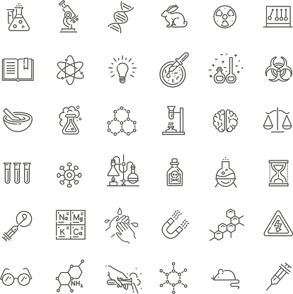 Modern thin line icons set of biochemistry research