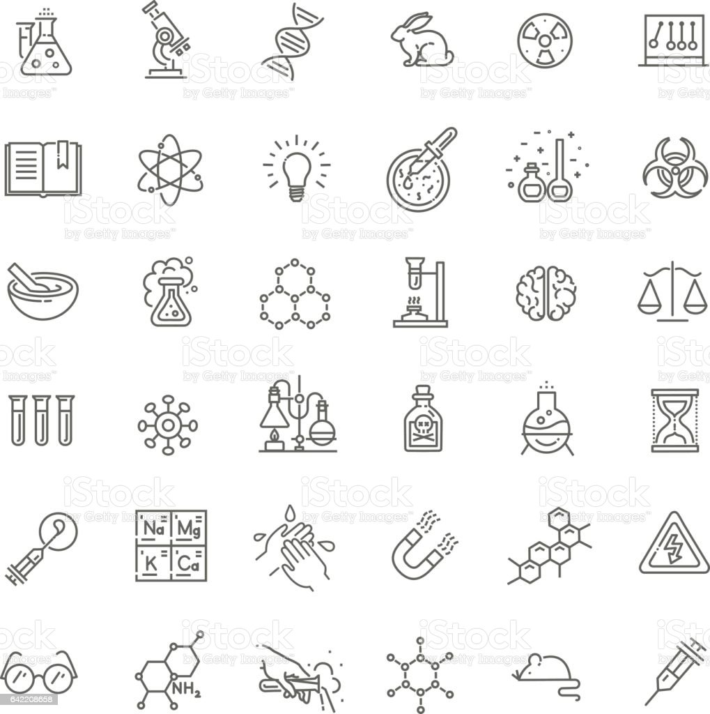 Modern thin line icons set of biochemistry research vector art illustration