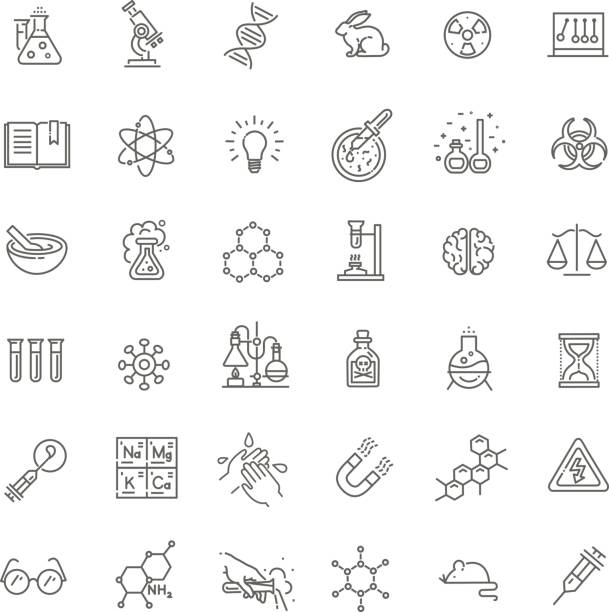 modern thin line icons set of biochemistry research - bio tech stock illustrations, clip art, cartoons, & icons