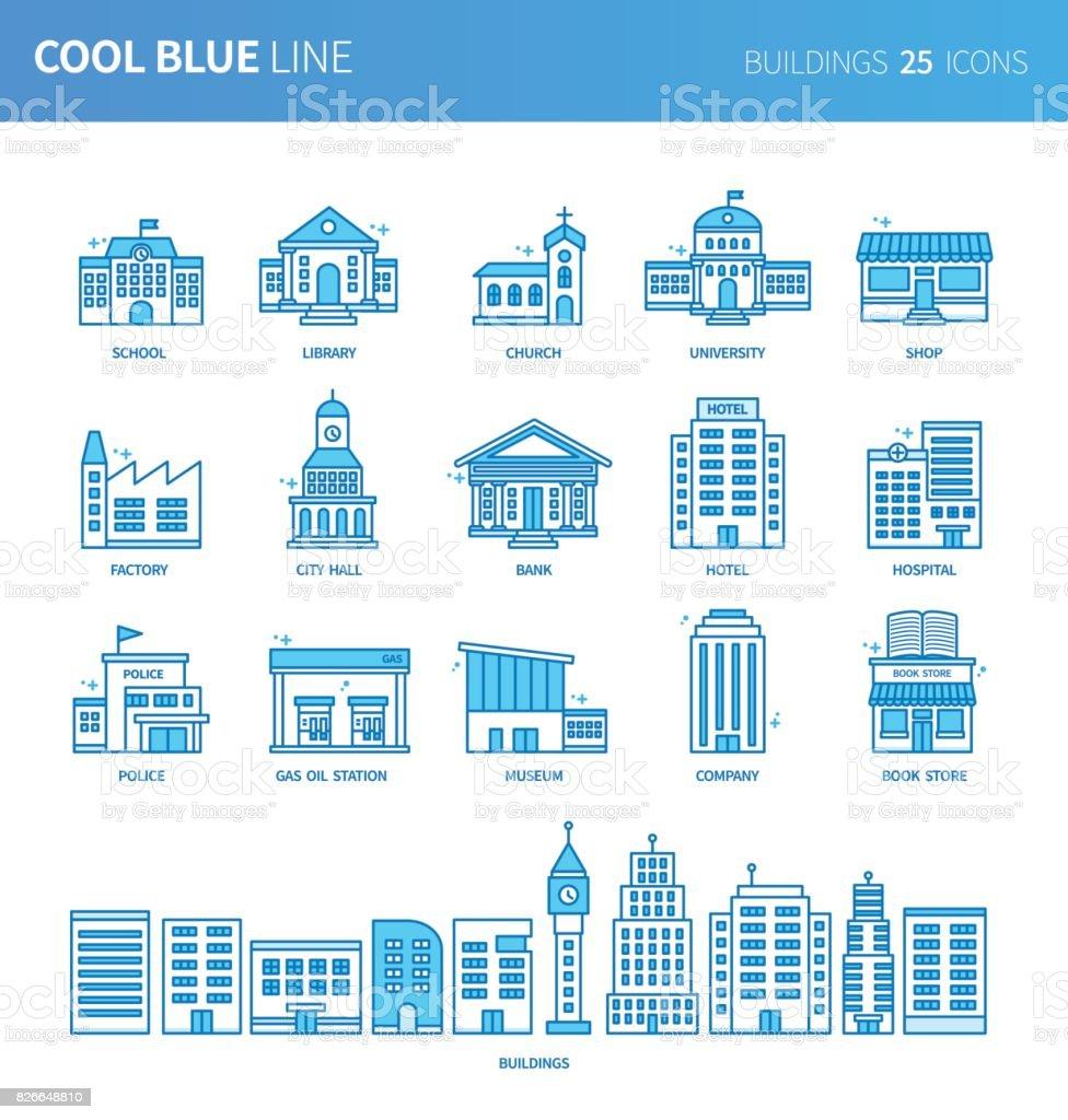 Modern thin line icons set of buildings. Premium quality outline symbol set. Simple linear pictogram pack. Editable line series vector art illustration
