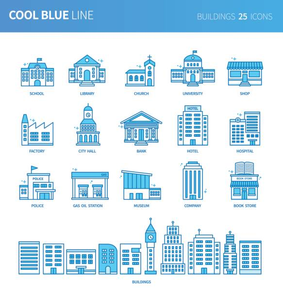 Modern thin line icons set of buildings. Premium quality outline symbol set. Simple linear pictogram pack. Editable line series Modern thin line icons set of buildings. Premium quality outline symbol set. Simple linear pictogram pack. Editable line series campus stock illustrations