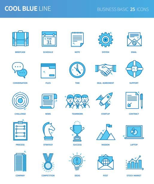 modern thin line icons set of business basic. premium quality outline symbol set. simple linear pictogram pack. editable line series - post it notes stock illustrations