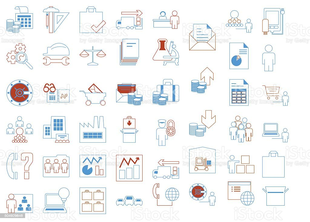 Modern thin line icons set of corporate management and business vector art illustration