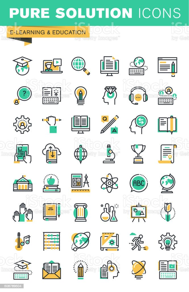 Modern thin line icons set of distance education vector art illustration