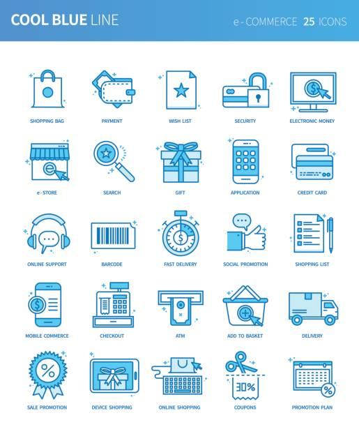 Modern thin line icons set of e-COMMERCE. Premium quality outline symbol set. Simple linear pictogram pack. Editable line series vector art illustration