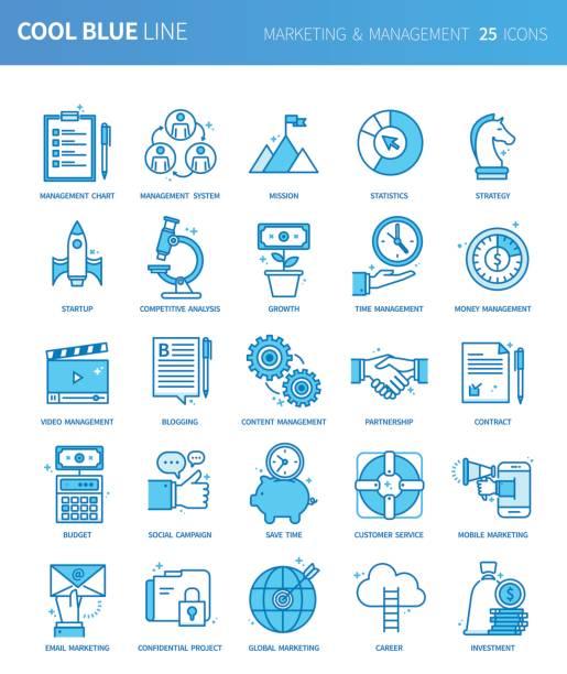 moderne dünne linie symbole satz von marketing & management. premium-qualität umriss symbolsatz. einfache lineare piktogramm pack. editierbare line serie - editorial stock-grafiken, -clipart, -cartoons und -symbole