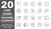 Modern thin line icons set of modern technology machine learning and artificial intelligent. Premium quality outline symbol collection. Editable Stroke. EPS 10