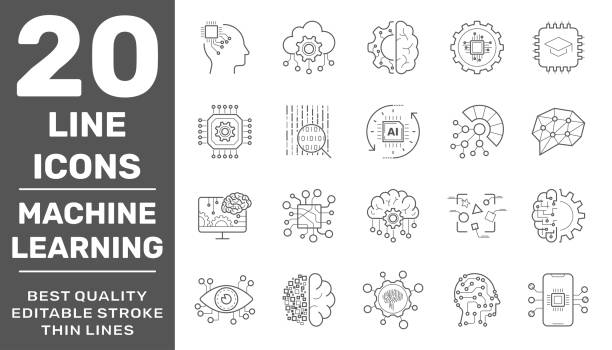 Modern thin line icons set of modern technology machine learning and artificial intelligent. Premium quality outline symbol collection. Editable Stroke. EPS 10 vector art illustration