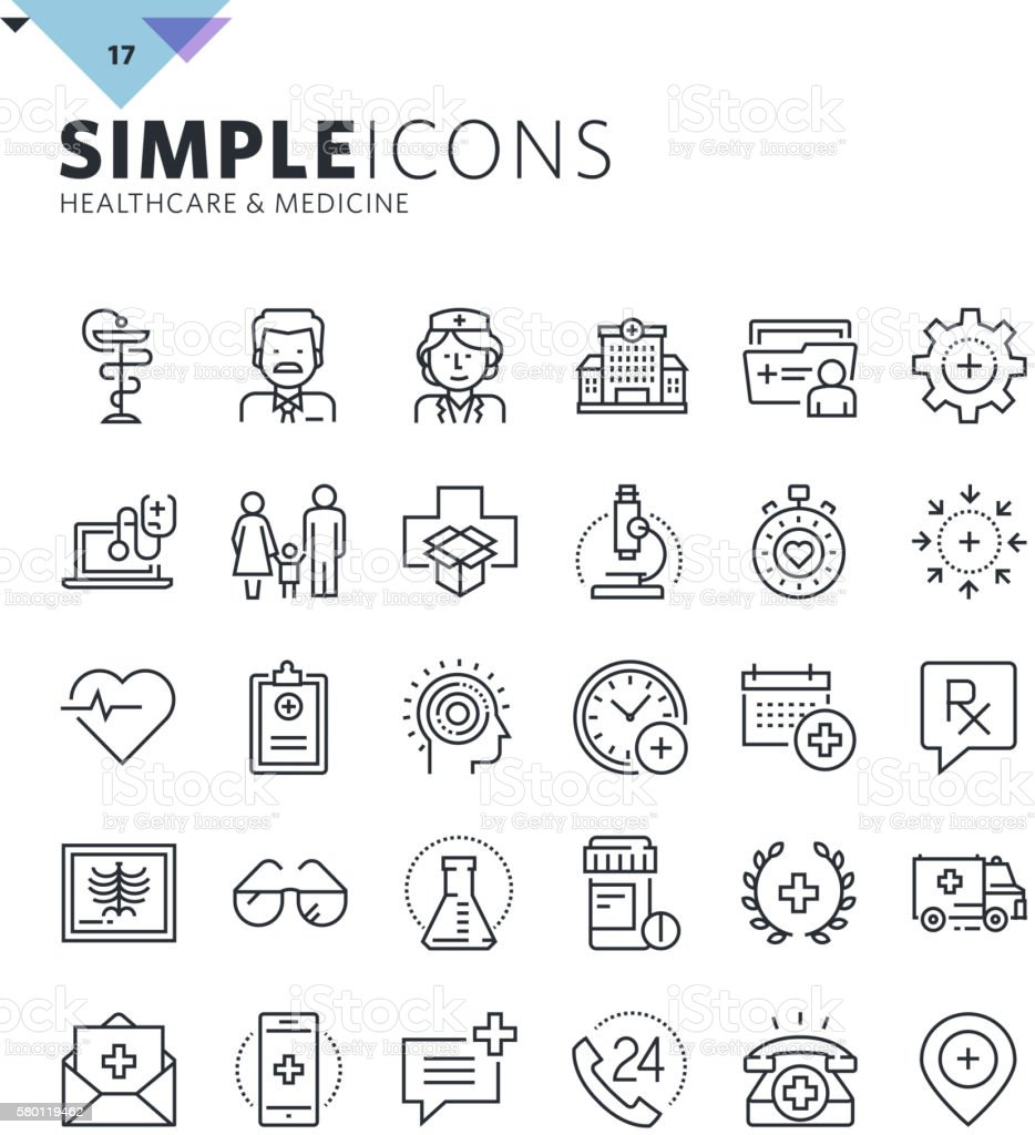 Modern thin line medical icons vector art illustration