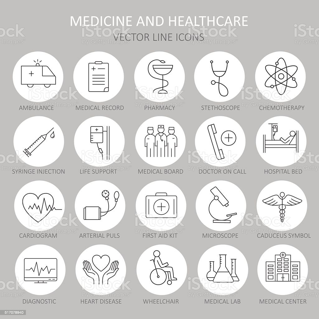 Modern thin line of icons on medicine. vector art illustration