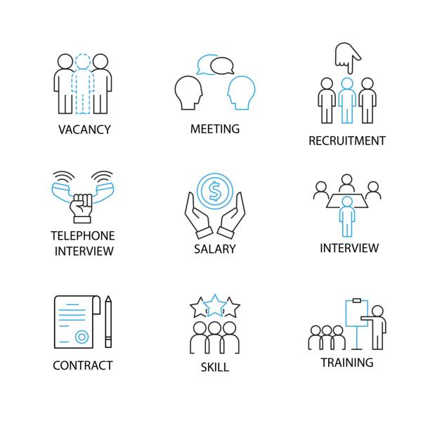 Modern Thin Line Pictogram with word vacancy,meeting,recruitment,telephone interview,salary,contract,skill,training. Recruitment Concept. Modern Thin Line Pictogram with word vacancy,meeting,recruitment,telephone interview,salary,contract,skill,training. Recruitment Concept. recruiter stock illustrations
