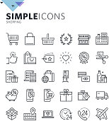 Modern thin line shopping web icons