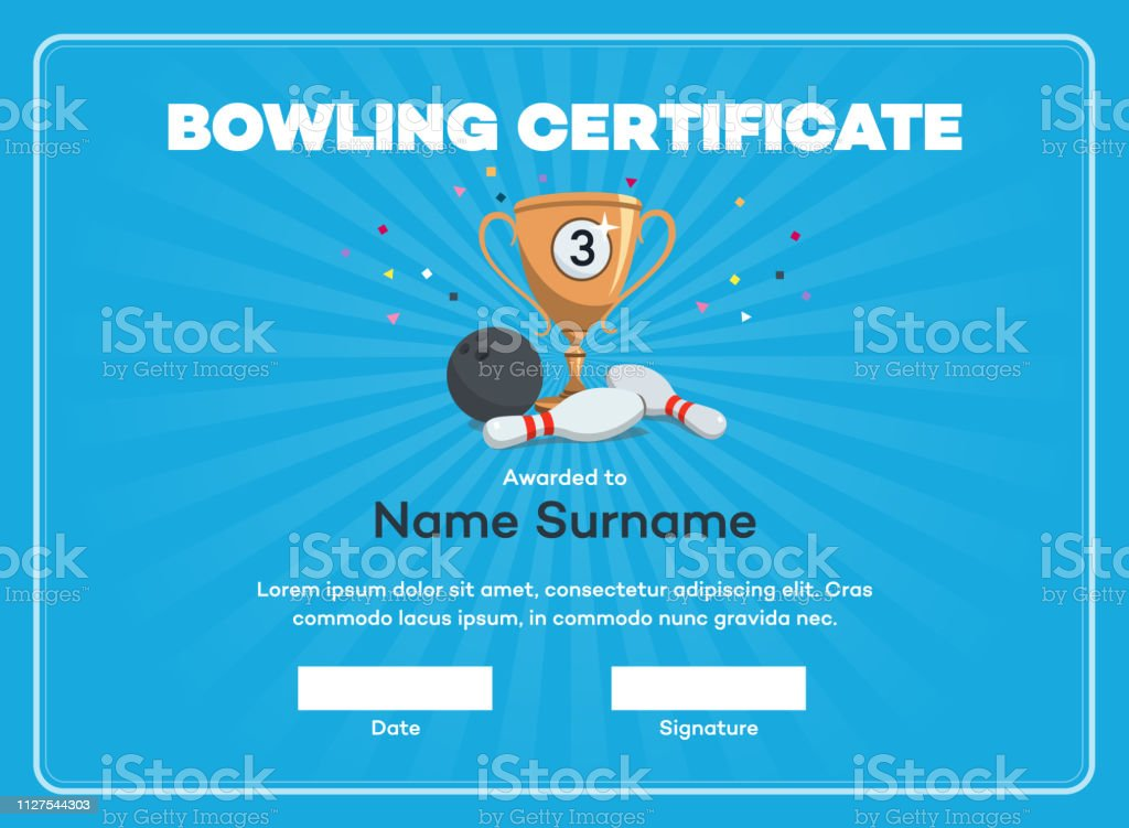 Modern third place bowling certificate diploma with a bronze winning cup and place for your content