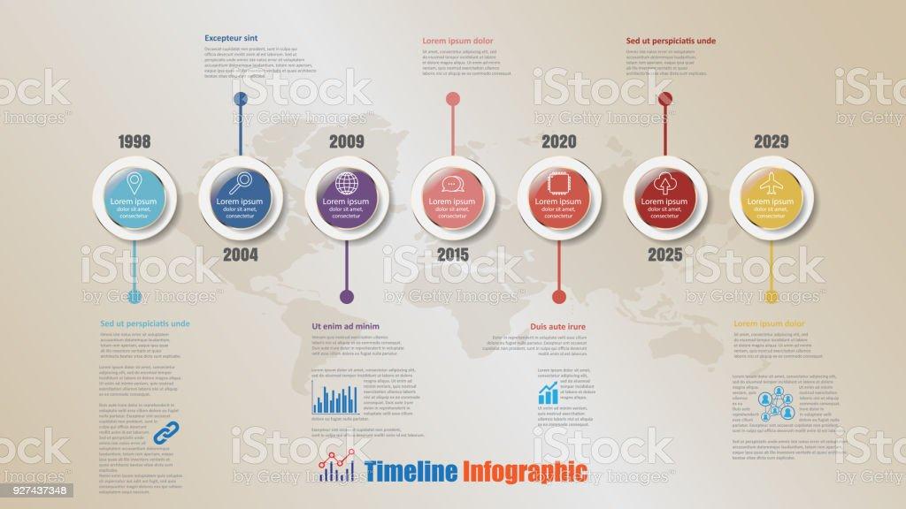 Modern Timeline Infographic with 7 steps circle, Vector Illustration vector art illustration