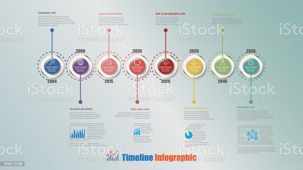 Modern Timeline Infographic with 8 steps circle, Vector Illustration vector art illustration