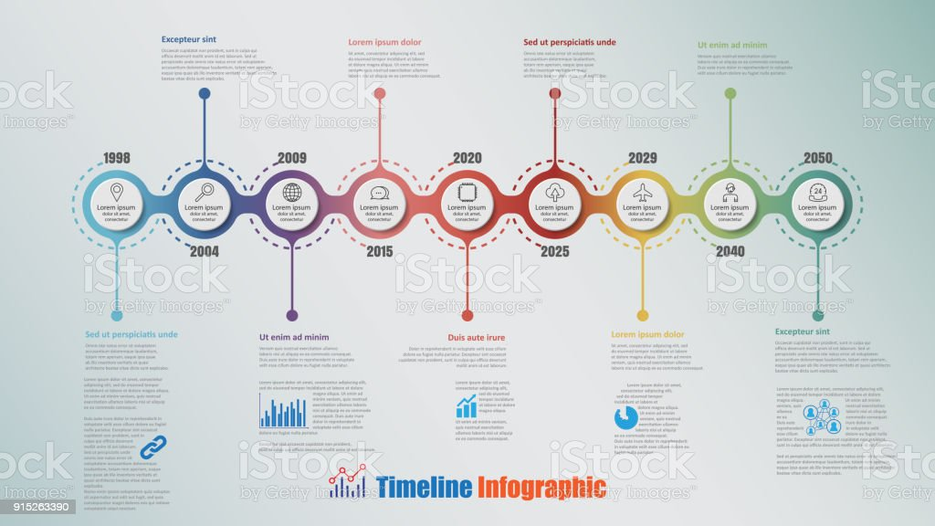 Modern Timeline Infographic with 9 steps circle, Vector Illustration vector art illustration