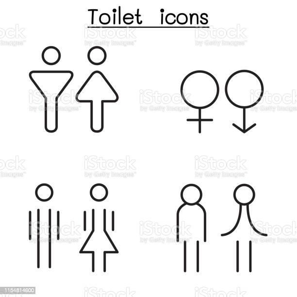 Modern Toilet Restroom Bathroom Symbol Set In Thin Line Style Stock Illustration Download Image Now Istock