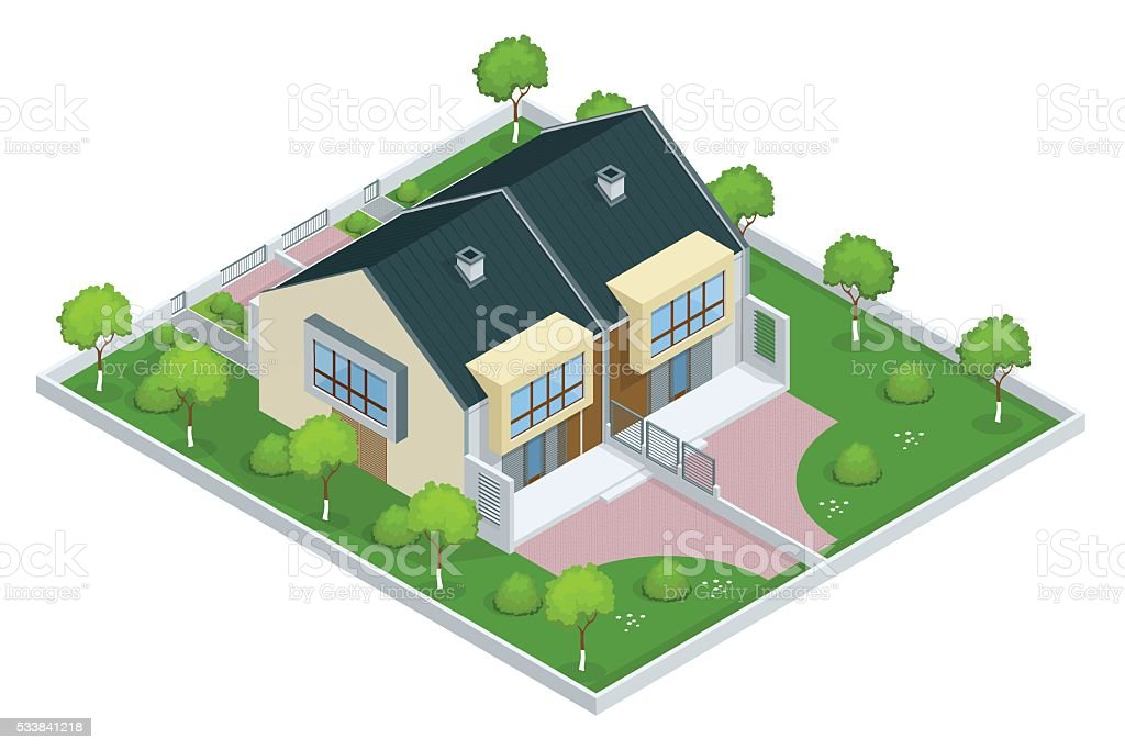 Modern townhouse vector art illustration