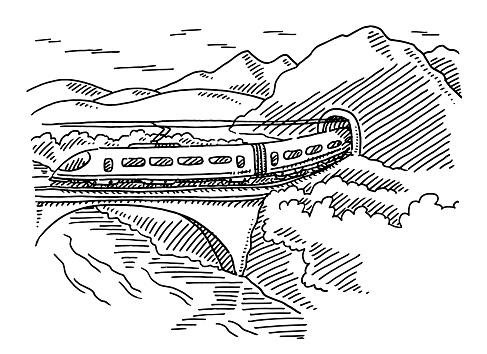 Modern Train Bridge Tunnel Landscape Drawing