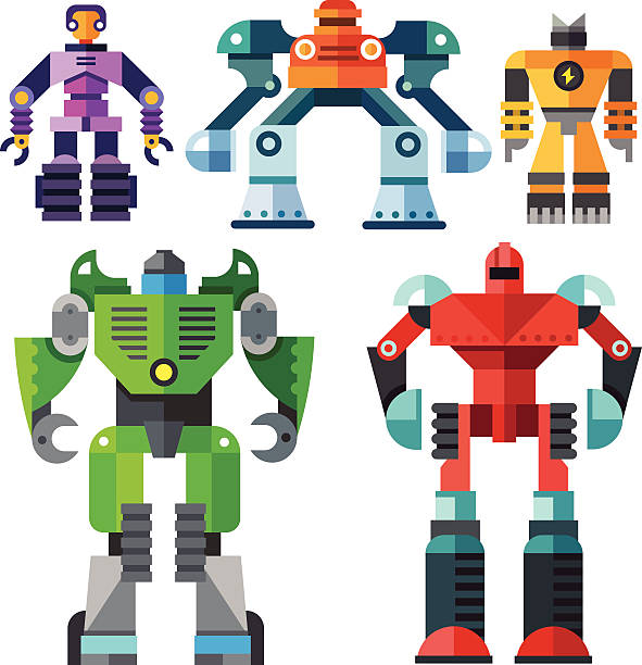 modern transformer robots Color vector flat icon set and illustrations modern transformer robots electricity transformer stock illustrations