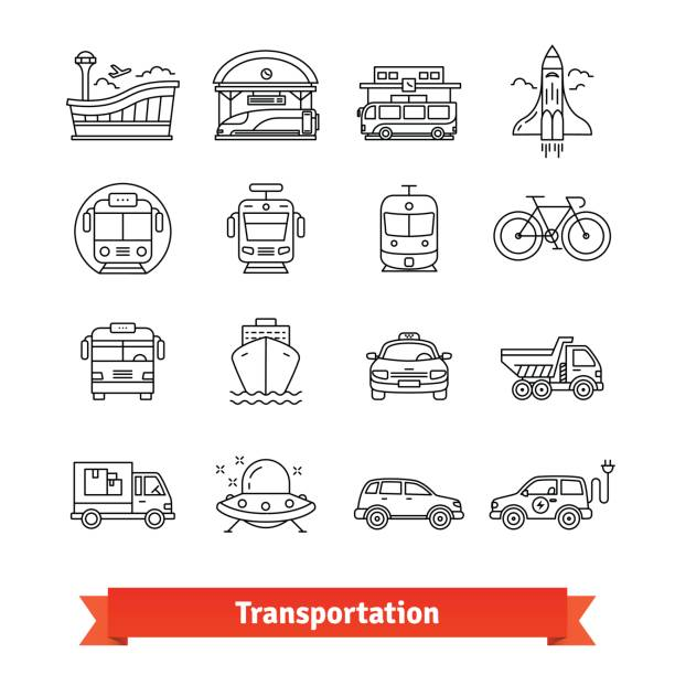 Modern transportation and urban infrastructure set Modern transportation and urban infrastructure set. Road, rail, water city and space transportation. Thin line art icons. Linear style illustrations isolated on white. airport symbols stock illustrations