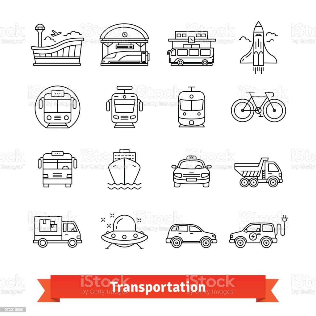 Modern transportation and urban infrastructure set vector art illustration