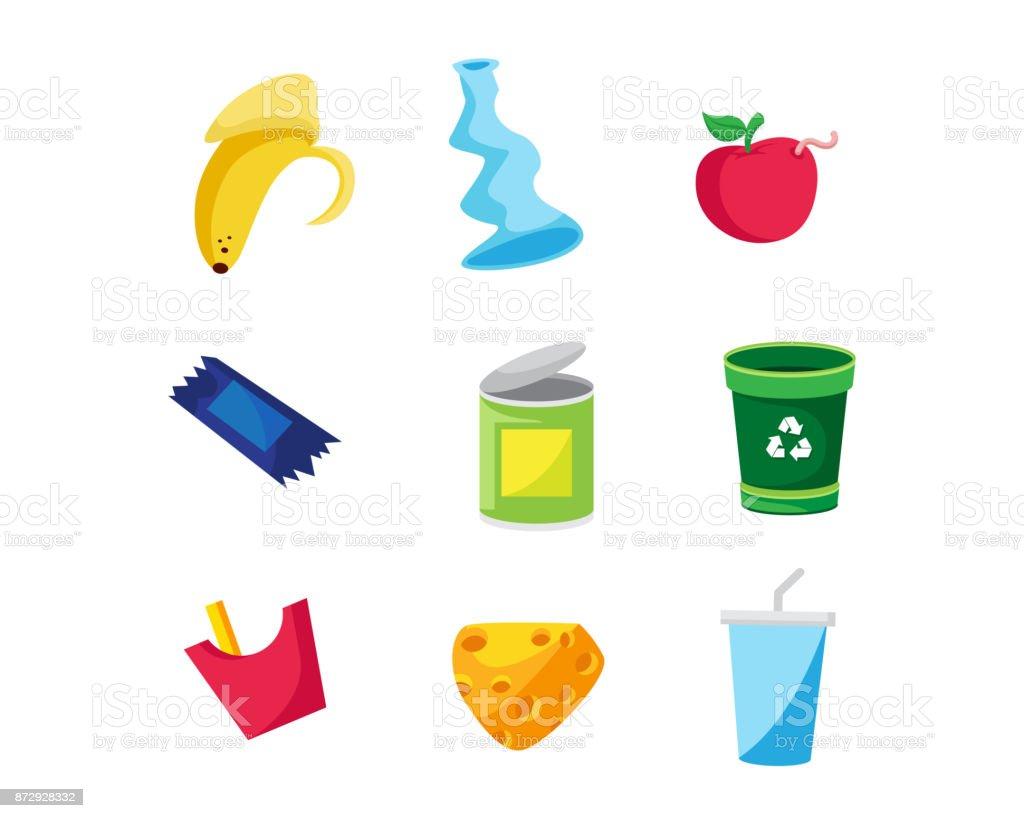Ilustração de objeto lixo moderno - ilustração de arte em vetor