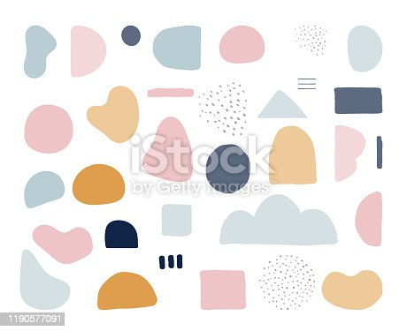 istock Modern trendy abstract shapes in pastel colors. Scandinavian clean vector design 1190577091