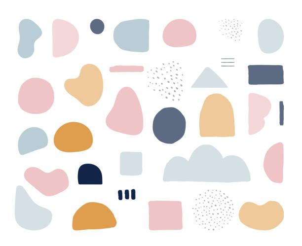 nowoczesne modne abstrakcyjne kształty w pastelowych kolorach. skandynawska czysta konstrukcja wektorowa - kolory stock illustrations