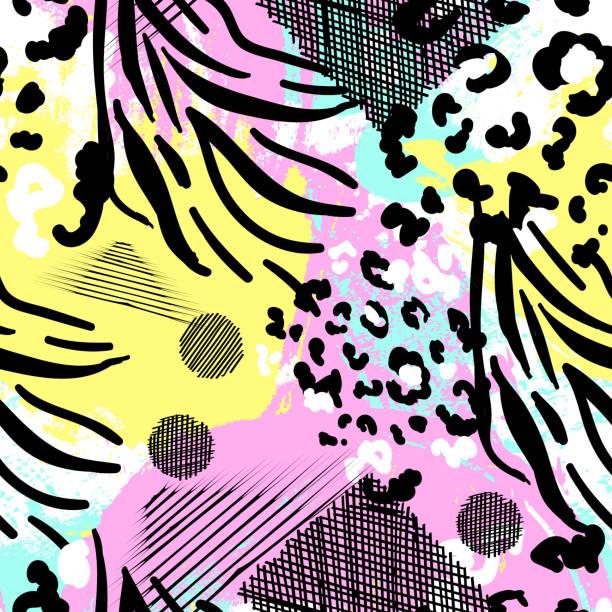 ilustrações de stock, clip art, desenhos animados e ícones de modern trendy animal skin seamless vector pattern - padrões zebra