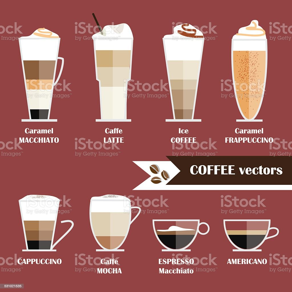 modern trendy flat style icon illustrations of coffee types collection vector art illustration